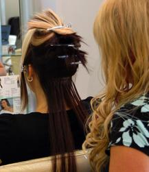 Rows of Extensions Blend with Natural Hair