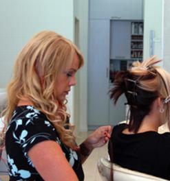 Stylist Lisa Call Applies Extensions